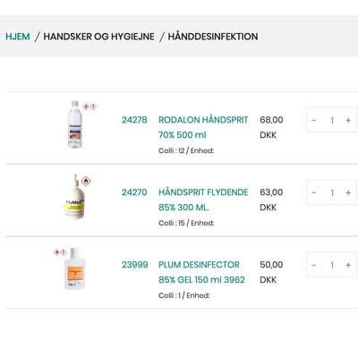 Køb hånddesinfektion online